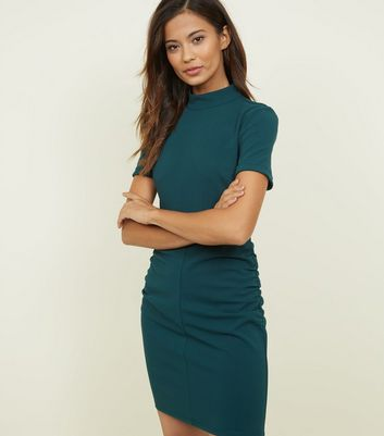 JDY Dark Green Ruched Side  Bodycon Dress