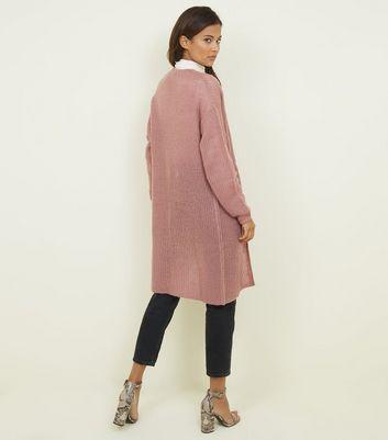 JDY Mid Pink Loose Knit Longline Cardigan New Look