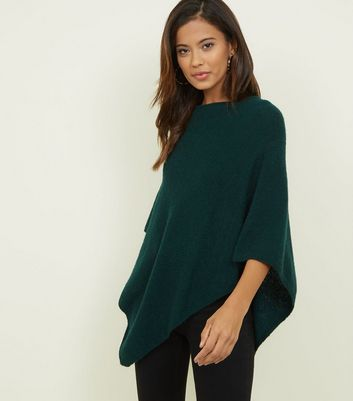 JDY Dark Green Knitted Poncho New Look