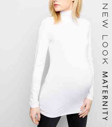 Maternity White Roll Neck Top
