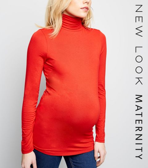 ... Maternity Red Roll Neck Top ... e65256adf