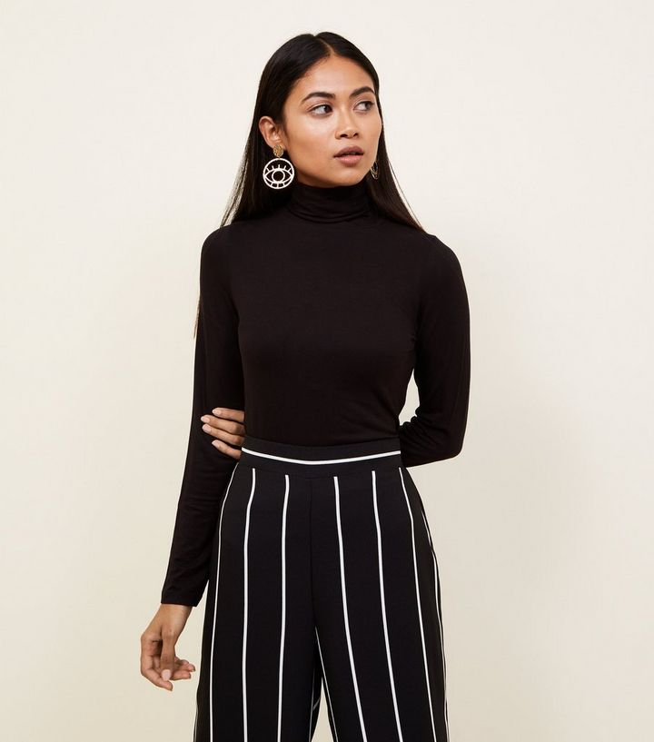 028a01080a963 Petite Black Roll Neck Top | New Look
