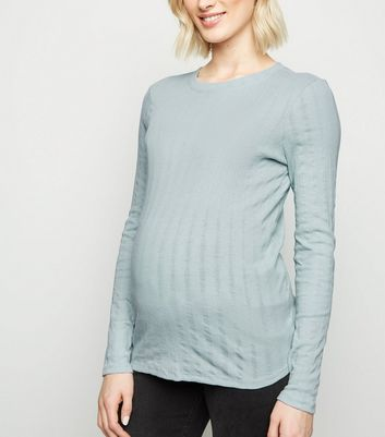 Maternity Mint Green Ribbed Long Sleeve Top