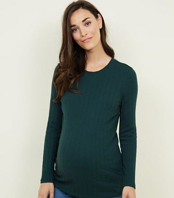 Maternity Dark Green Ribbed Long Sleeve Top