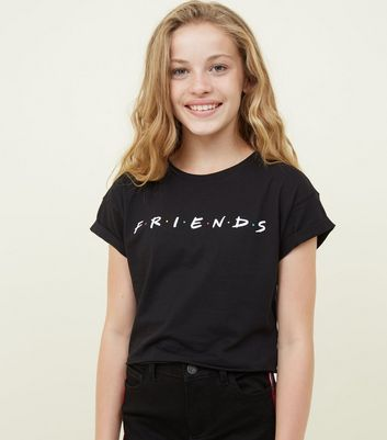 "Girls – Schwarzes T-Shirt mit ""Friends""-Logo"