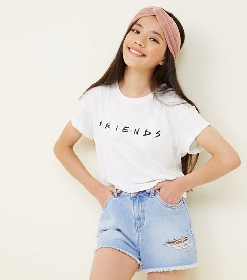 c4a028fae6b ... Girls White Friends Logo T-Shirt ...