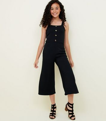 Girls Black Ribbed Button Front Jumpsuit