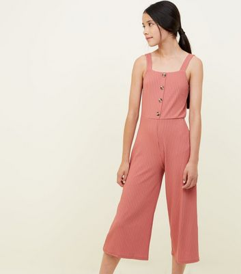 Girls Coral Ribbed Button Front Jumpsuit