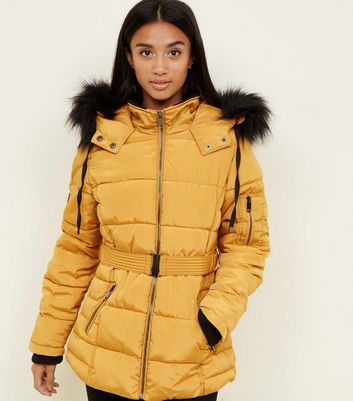 Petite Mustard Belted Puffer Jacket