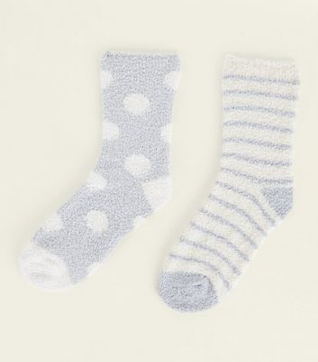 2 Pack Pale Blue Spot and Stripe Fluffy Socks New Look