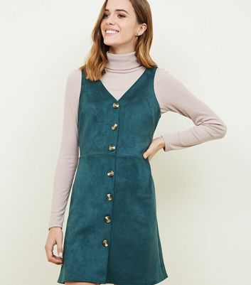 Dark Green Suedette Button Through Pinafore Dress