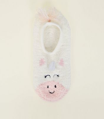 White 3D Unicorn Slipper Socks