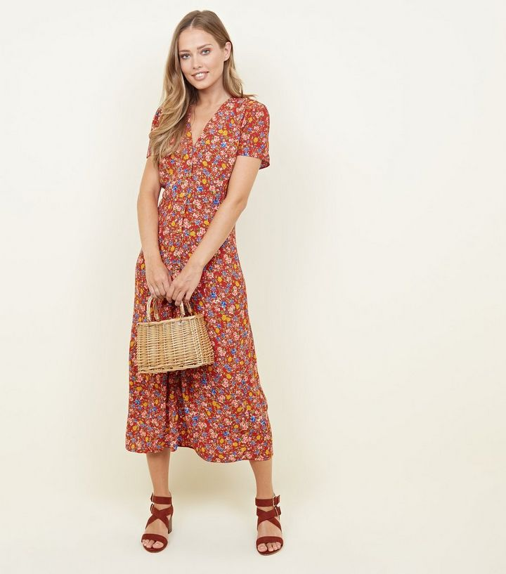 Rust Floral Midi Tea Dress Add to Saved Items Remove from Saved Items
