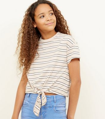 Girls Brown Stripe Tie Front Tee