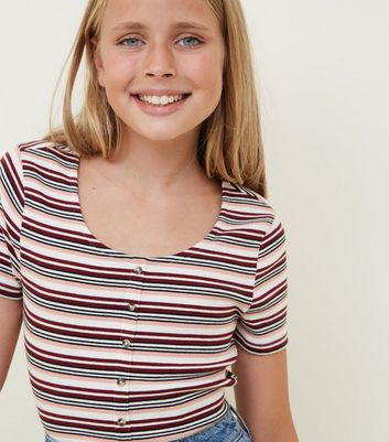 Girls Red Stripe Ribbed Button Front T-Shirt