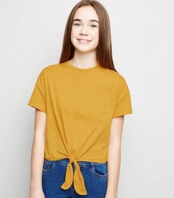 Girls Mustard Tie Front T-Shirt