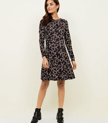Black Floral Soft Touch Long Sleeve Dress New Look