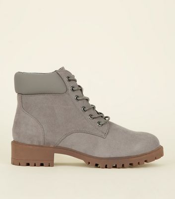 Girls Grey Suedette Worker Boots