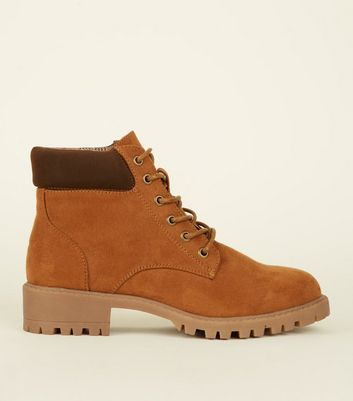 Girls Tan Suedette Worker Boots