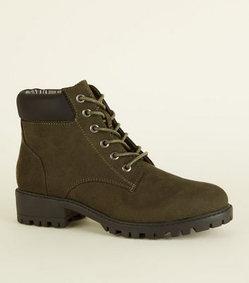 Girls Khaki Suedette Worker Boots