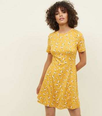 Yellow Ditsy Floral Soft Touch Skater Dress