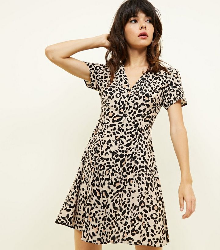 d177f89b3e Brown Leopard Print Button Front Tea Dress