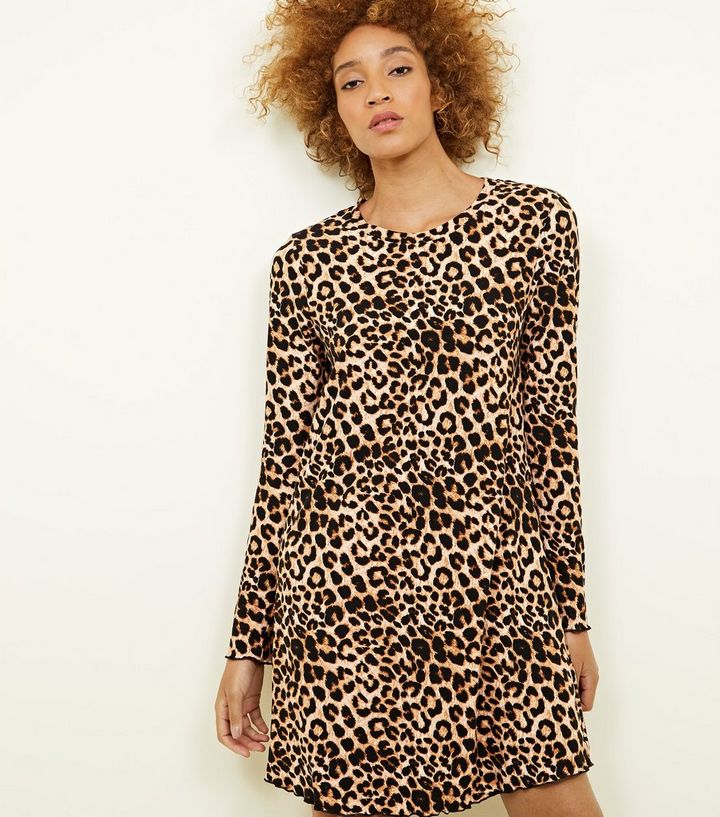 6776d97b7396a Brown Leopard Print Soft Touch Swing Dress. Add to Saved Items