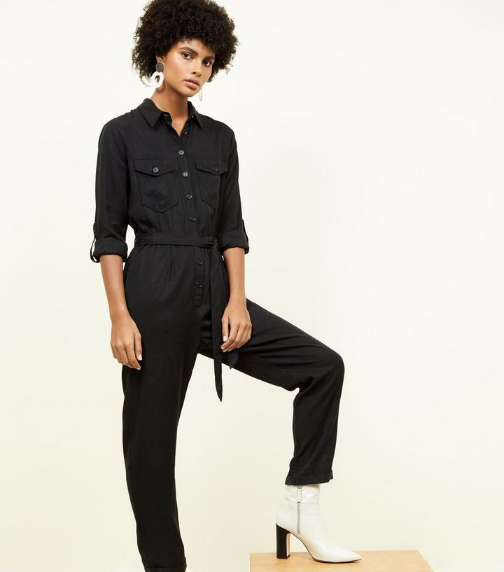 a3eb2643227 Black Long Sleeve Utility Jumpsuit