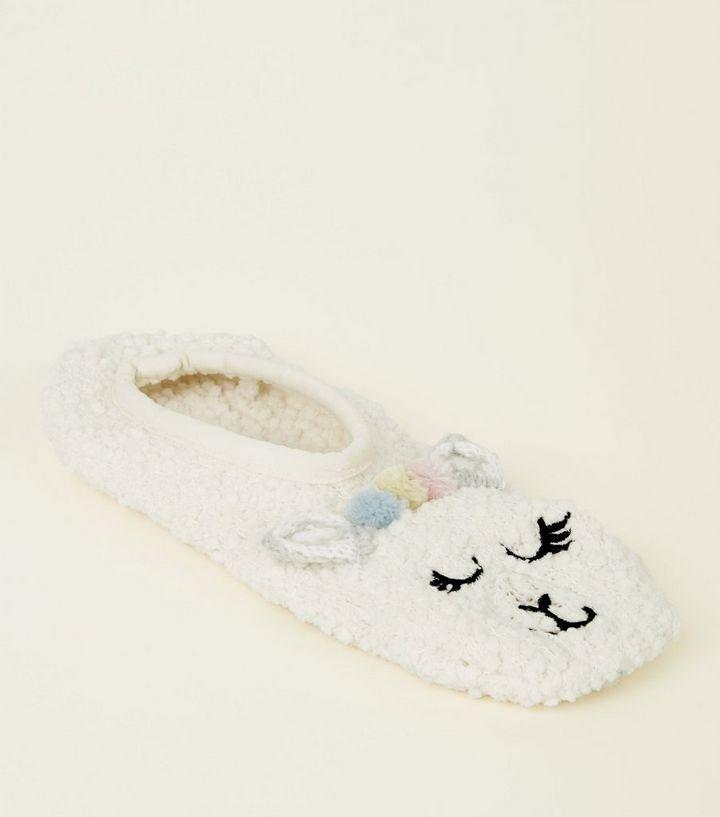 03dfba930217 Cream Pom Pom Llama Borg Slipper-Socks