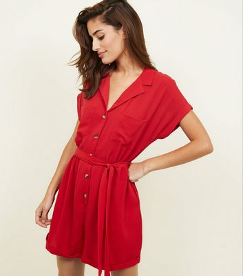 Red Revere Collar Button Through Playsuit