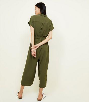 Khaki Revere Collar Culotte Jumpsuit New Look