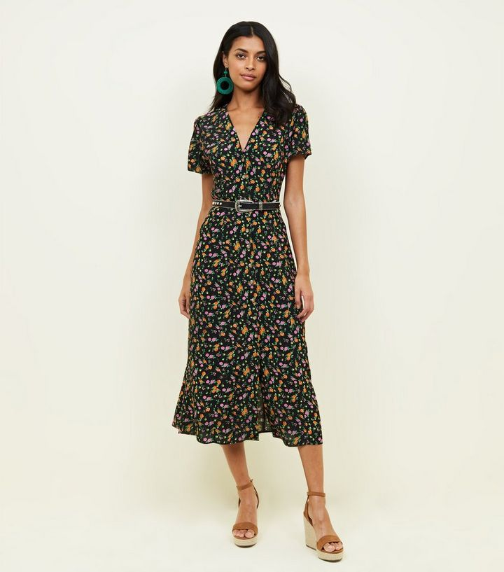 c220f18f Black Bright Floral Button Through Midi Tea Dress | New Look
