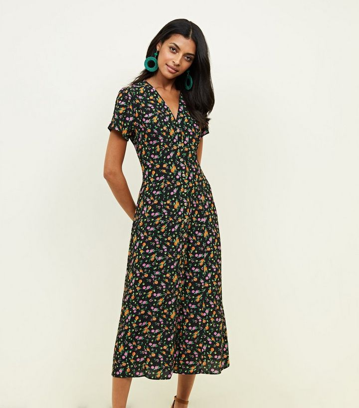 83d656e486 ... Black Bright Floral Button Through Midi Tea Dress. ×. ×. ×. Shop the  look