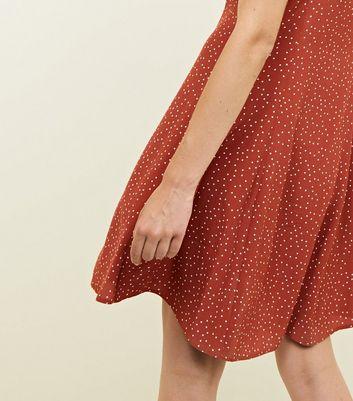 Rust Spot Print Button Through Tea Dress New Look