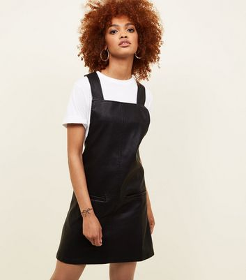 Black Leather-Look Pinafore Dress