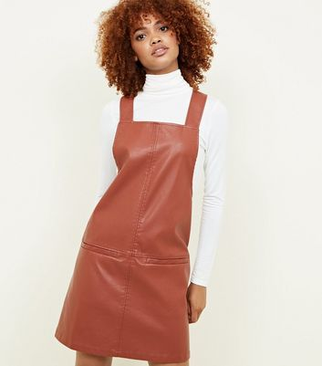 Tan Leather-Look Pinafore Dress