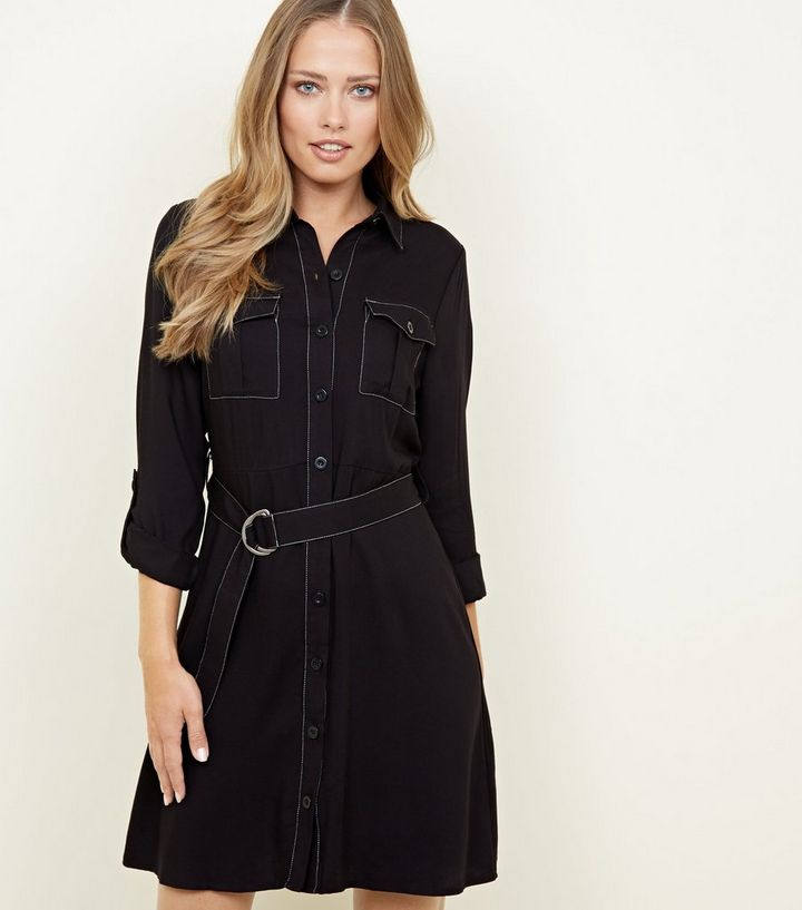 Welp Black Utility Shirt Dress | New Look YJ-47