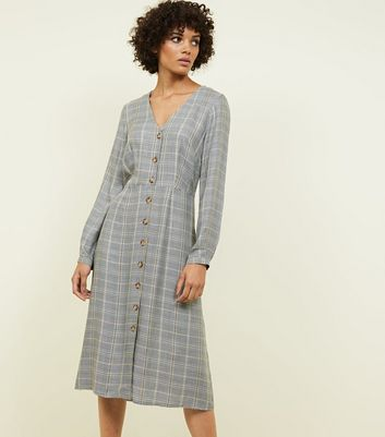 Brown Check Button Through Midi Dress