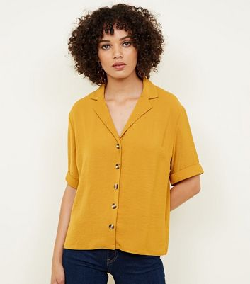 Mustard Button Front 1/2 Sleeve Boxy Shirt
