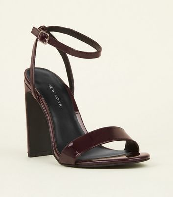 Dark Red Patent Slim Block Heel Sandals
