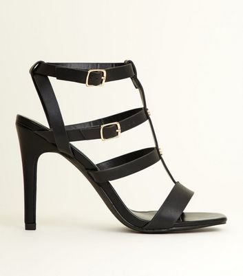 Black Stiletto Heel Gladiator Sandals