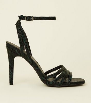 Green Faux Snake Strappy Stilettos