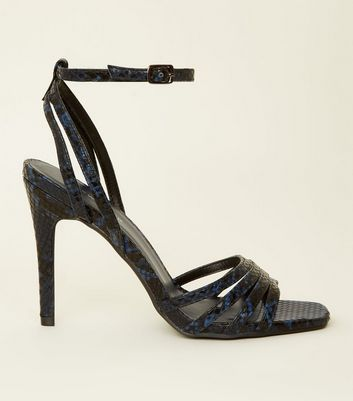 Blue Faux Snake Strappy Stilettos