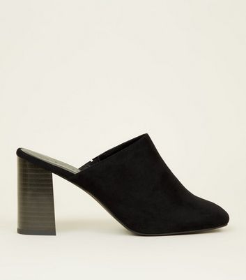 Black Suedette Block Heel Square Toe Mules