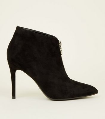 Black Suedette Ring Zip Stiletto Shoe Boots