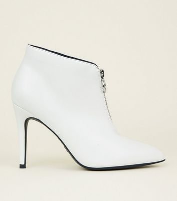 White Stiletto Ring Zip Front Ankle Boots