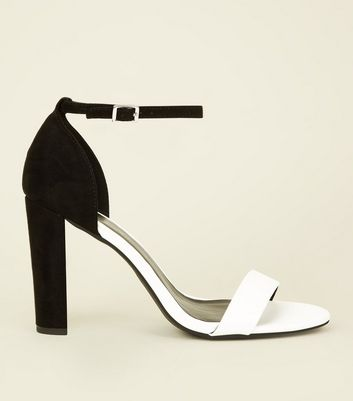 Wide Fit Black Monochrome Ankle Strap Block Heels