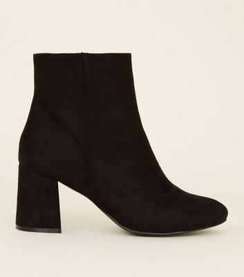 Wide Fit Black Suedette Flared Heel Boots