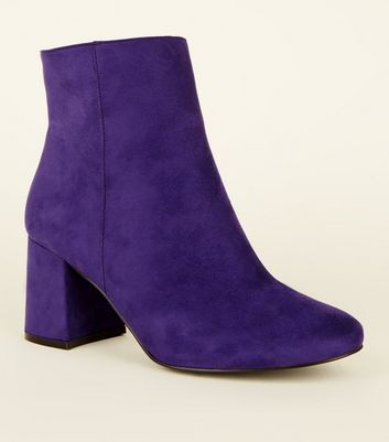 Wide Fit Dark Purple Suedette Flared Heel Boots
