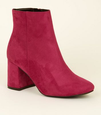 Wide Fit Bright Pink Suedette Flared Heel Boots